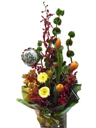 Bright Seasonal Flower Box with Balloon