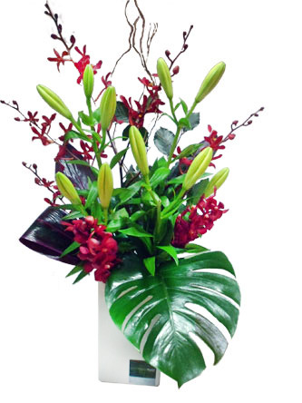 Flamboyant orchids and lilies, and tropical leaves in a ceramic vase