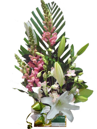 lilies, snap dragon, orchids