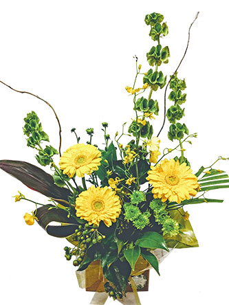 yellow flower arrangement