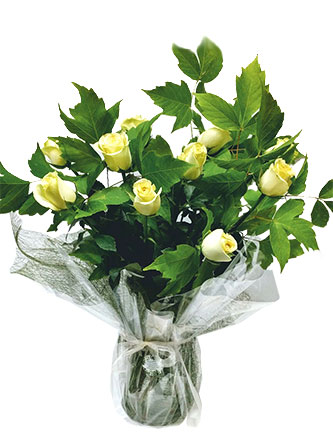 White or Yellow roses in a vase